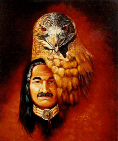 "Leonard Peltier has earned renown as a painter over his decades in prison. Though his eyesight is failing, he continues to paint. To support his defense, go to his official website to order his artwork, http://www.whoisleonardpeltier.info/lithos.htm. This self-portrait, titled ""Hawkman II,"" is available as a 18-inch by 22-inch lithograph."