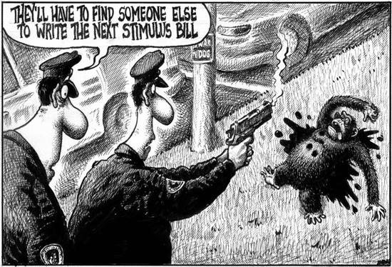new-york-post-cartoon-cops-shoot-chimp-obama-021809-by-sean-delonas, New York Post cartoon crosses the line, World News & Views