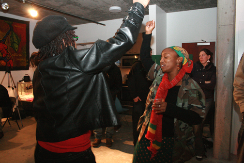 Another sample of Esh's work: These two sistas danced the night away at the community fundraiser for Oscar Grant's daughter, Tatiana, 4, on Oscar's birthday. – Photo: Ayesha Walker