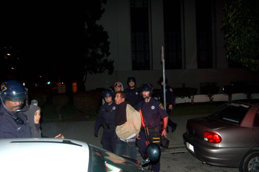 Arrests of protesters by the Oakland PD were unnecessarily violent and, in this case, bloody. – Photo: M, IndyBay