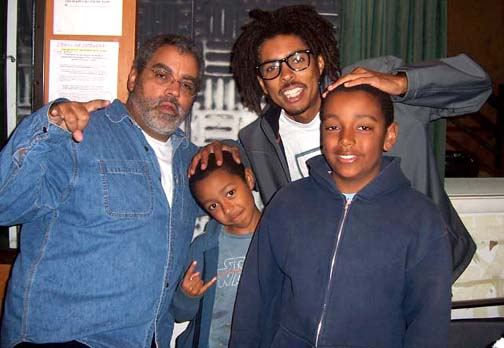 Rickey Vincent, with his sons, Gary and Marcus, hosts their hero, Shock G, on Rickey's show, The History of Funk, on KPFA.