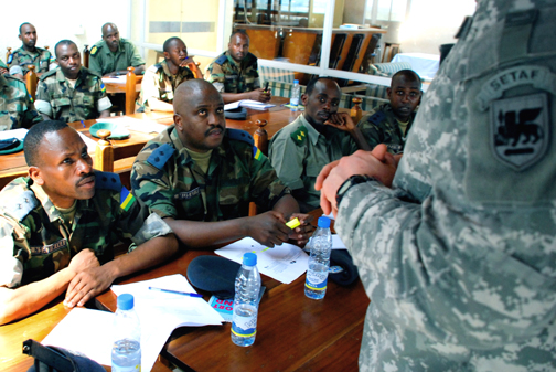 In Kigali, Rwanda, on Jan. 7, 2009, soldiers with the Rwanda Defense Forces are trained by U.S. soldiers as part of U.S. Africa Command's (Africom's) African Deployment Assistance Phase Training (ADAPT) program. – Photo: www.Army.mil