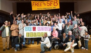 """San Francisco 8 supporters gather at the Hamilton Rec Center on Sept. 24, 2007, to celebrate the release on bail of six of the eight and to send their love to Herman Bell and Jalil Muntaqim, who remain behind enemy lines. Herman and Jalil are eligible for parole. The son of the policeman they were wrongly convicted of killing supports their release, saying: """"I feel that Herman Bell and Anthony Bottom [Jalil Muntaqim] were both victims as well of a much larger scheme which got them incarcerated to this day ... And to me they have shown great resilience in prison, that their mind is still intact, that their spirit is still eager to do good, and I just pray that the Parole Board will look at the context and the time and send a message to me of healing."""""""