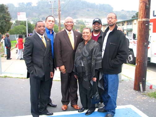 A. Philip Randolph Institute San Francisco President James Bryant (second from right) poses with some of his funders, San Francisco Housing Authority Executive Director Henry Alvarez (second from left) and (from left) Housing Authority Commissioners Millard Larkin, Rev. Dr. Amos Brown and Neola Gans and PG&E Government Relations Representative Jimi Harris during a 2008 Thanksgiving turkey giveaway sponsored by PG&E for public housing residents in Bayview Hunters Point.